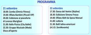 Programma evento 21 e 22 set